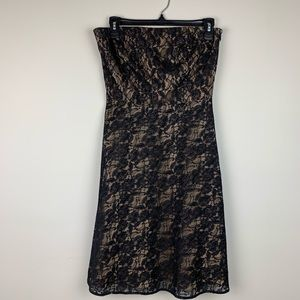 ANN TAYLOR LOFT Black Strapless Lace Dress 4P
